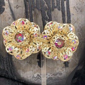 Vintage Sarah Coventry flower rhinestone earrings